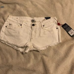 True Religion White Denim Shorts